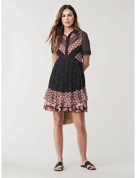 Lou Silk Chiffon Collared Mini Dress by Dvf