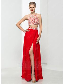 Beading Sleeveless Split Front Floor Length Chinese Style Prom Dress by Dress We