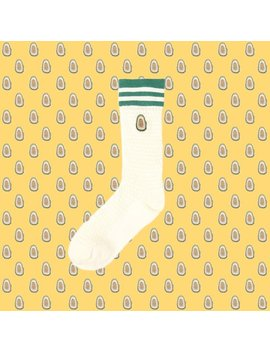Avocado Embroidered White Jacquard Crew Socks by Fiona Yang