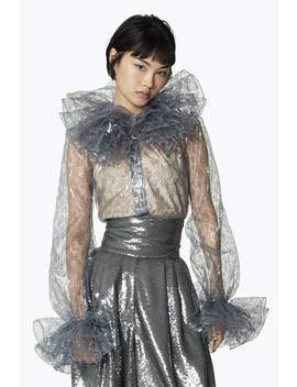Ruffled Metallic Lace Silk Blouse by Marc Jacobs