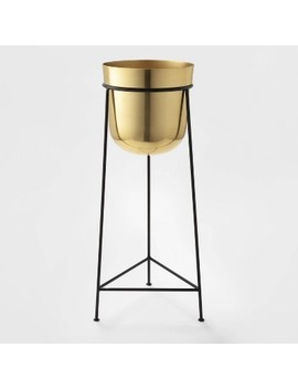 """26""""-x-92""""-brass-planter-with-stand-gold_black---project-62 by shop-this-collection"""
