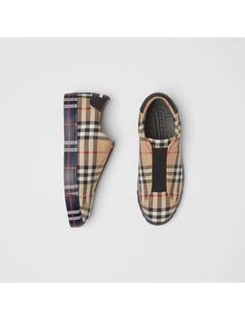 Contrast Check And Leather Slip On Sneakers by Burberry