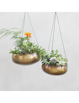 Hanging Distressed Metal Bowl by Terrain