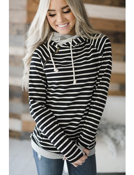 Double Hood™ Sweatshirt   Black Stripe by Mindy Mae's Market