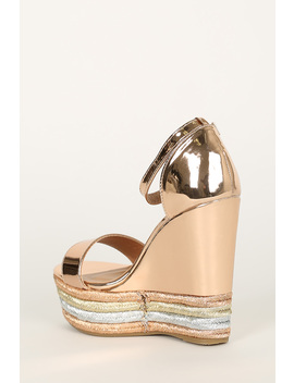 Metallic Open Toe Striped Espadrille Platform Wedge by Urbanog