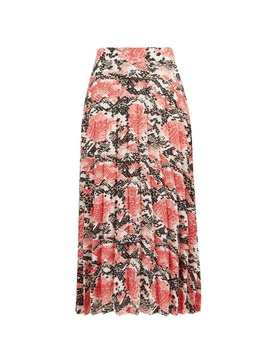 Coral Animal Print Pleated Midi Skirt by Dorothy Perkins