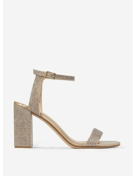 Gold 'Shimmer' Block Heel Sandals by Dorothy Perkins