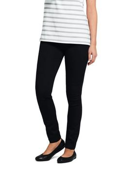 Women's Mid Rise Pull On Skinny Black Jeans by Lands' End
