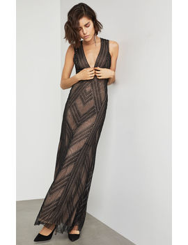 Chevron Stripe Deep V Gown by Bcbgmaxazria