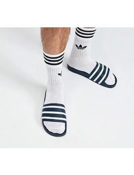 adilette-slide-sandal-|-adiblue-_-white by adidas-originals