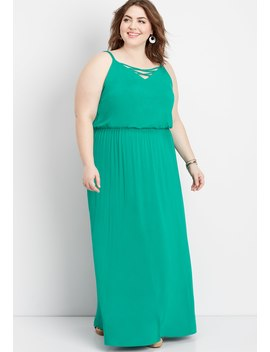 Plus Size 24/7 Lattice Neck Maxi Dress by Maurices