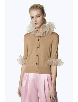 Elbow Sleeve Ruffle Wool Cardigan by Marc Jacobs