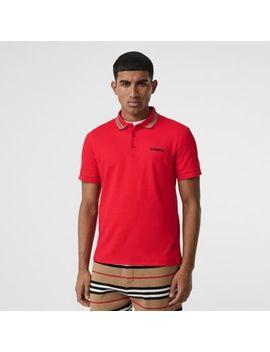 Icon Stripe Detail Cotton Piqué Polo Shirt by Burberry