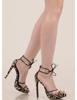 Clear Message Tied Peep Toe Platforms by Go Jane