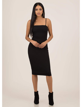 It Figures Ribbed Square Neck Midi Dress by Go Jane