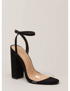 See Thru You Chunky Clear Strap Heels by Go Jane