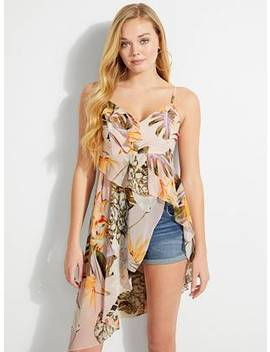 Danie Ruffled Floral Print Top by Guess