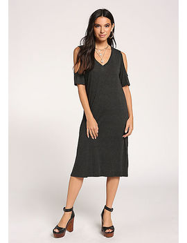 Black Cold Shoulder Shift Midi Dress by Love Culture