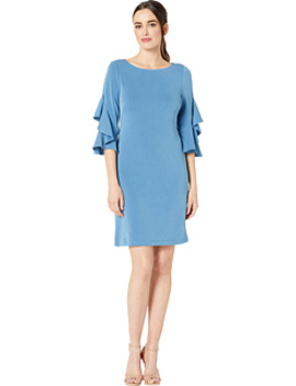 Ruffle Sleeve Solid Shift Dress by Taylor