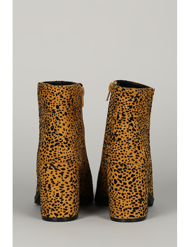 Wild Animal Print Pointy Toe Chunky Heel Ankle Boots by Urbanog