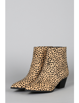 Printed Pointy Toe Chunky Heeled Booties by Urbanog