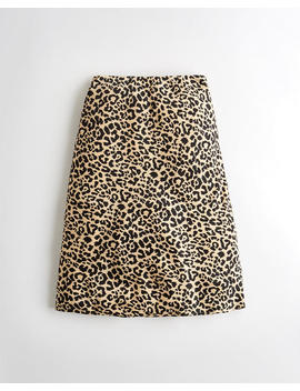 Ultra High Rise Leopard Midi Skirt by Hollister