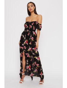 Floral Smocked Short Sleeve Slit Maxi Dress by Urban Planet