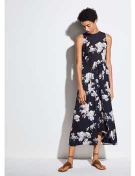 Peony Print Shirred Drawstring Dress by Vince