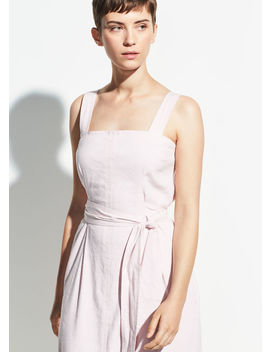 Belted Wide Strap Linen Dress by Vince