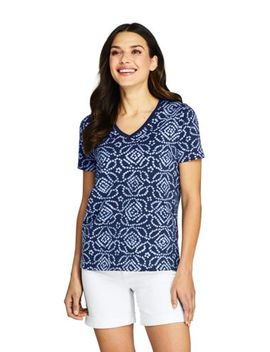 Women's Printed Relaxed Short Sleeve Supima Cotton V Neck T Shirt by Lands' End