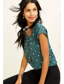 Dot Print Short Sleeve Top by Maurices
