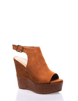Make A Basket Peep Toe Platform Wedges by Go Jane