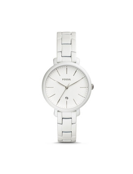 Jacqueline Three Hand Date Pearl White Stainless Steel Watch by Fossil