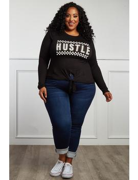 Hustle Plus Size Tie Front Tee by Gs Love