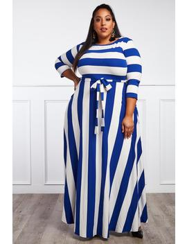 Shining Example Plus Size Striped Maxi Dress by Gs Love