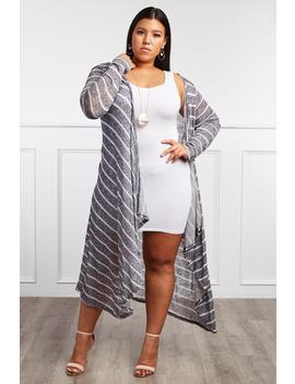 Don't Forget Plus Size Long Striped Cardigan by Gs Love
