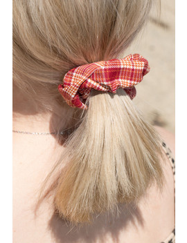 red-and-orange-plaid-scrunchie by brandy-melville