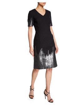 V Neck Shift Dress W Metallic Detail by Carolina Herrera