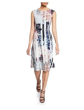Floral Striped Sleeveless A Line Dress by Melissa Masse