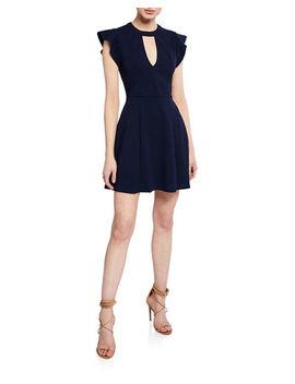 Keyhole Crewneck Cap Sleeve Mini Fit & Flare Dress by Bcb Generation