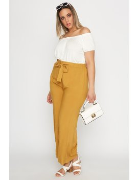 Plus Size High Rise Tie Wide Leg Palazzo Pant by Urban Planet