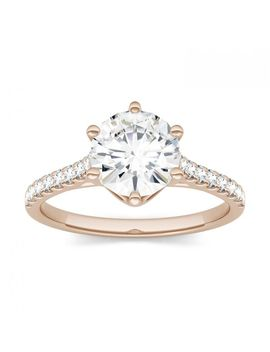 Forever One 1.74 Ctw Round Near Colorless Moissanite Solitaire With Side Accents Ring In 14 K Rose Gold by Charles And Colvard