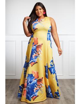 Deep Petals Plus Size Floral Maxi Dress by Gs Love