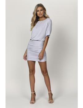 The Start Grey Draped Bodycon Dress by Tobi