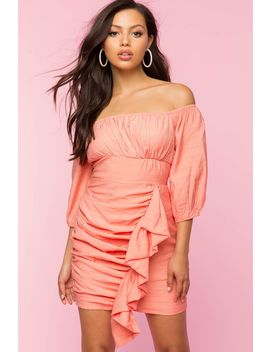 Ruched Off Shoulder Ruffle Dress by A'gaci