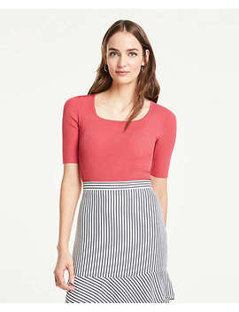 ribbed-square-neck-short-sleeve-sweater by ann-taylor