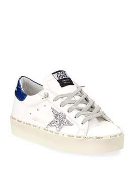 Hi Star Glittered Leather Platform Sneakers by Golden Goose