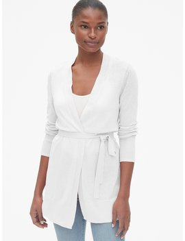 Longline Open Front Cardigan Sweater In Linen Blend by Gap