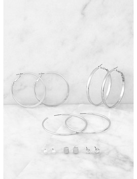 Trio Of Hoop And Metallic Stud Earrings by Rainbow