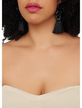 Beaded Rose Tassel Earrings by Rainbow